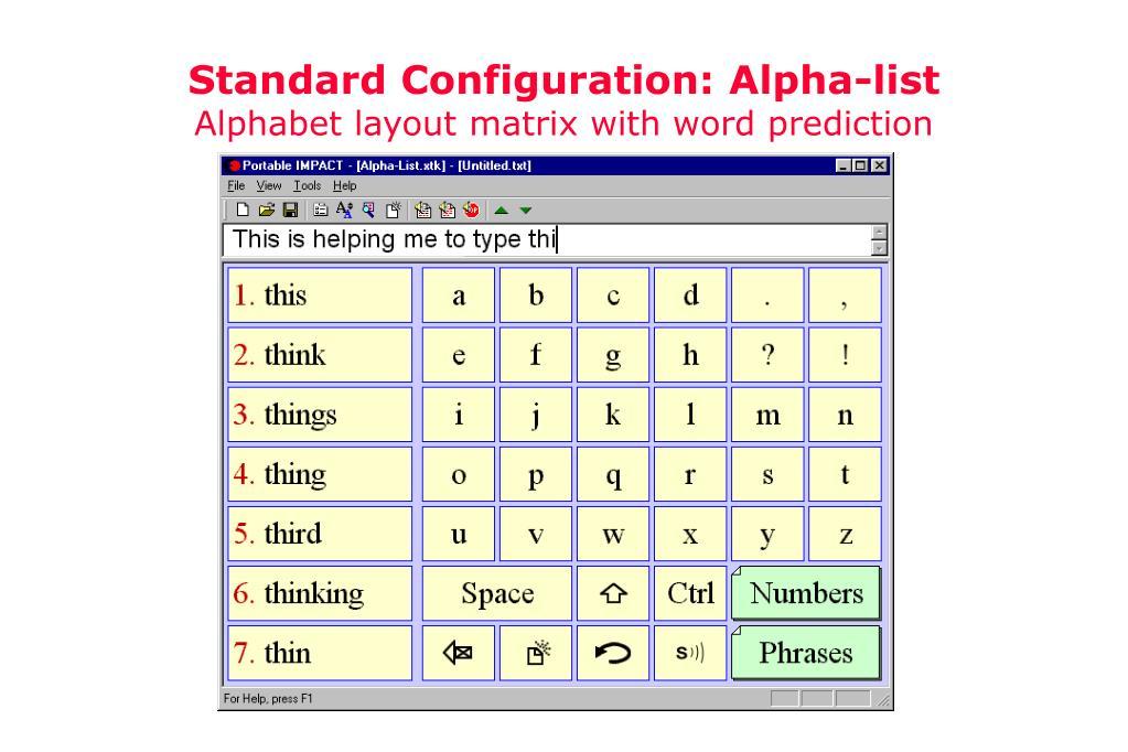 Standard Configuration: Alpha-list