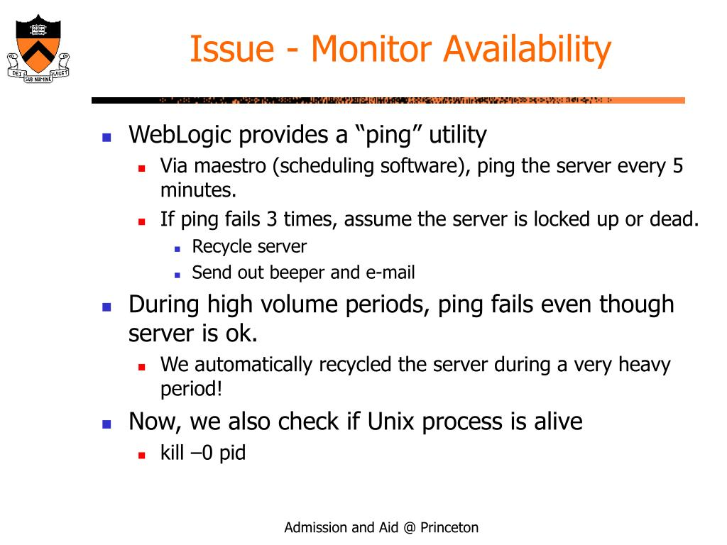 Issue - Monitor Availability
