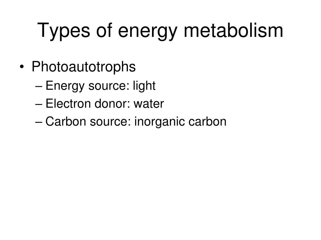 Types of energy metabolism