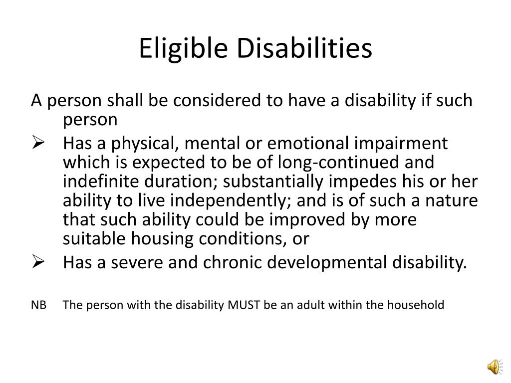 Eligible Disabilities