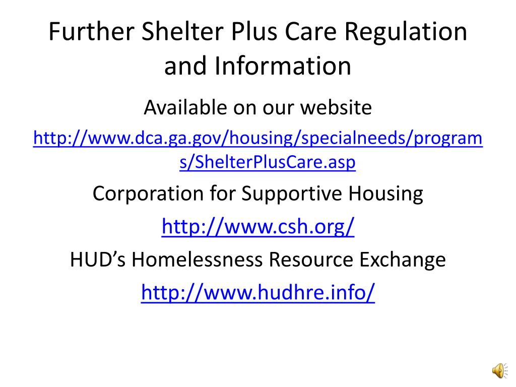 Further Shelter Plus Care Regulation and Information