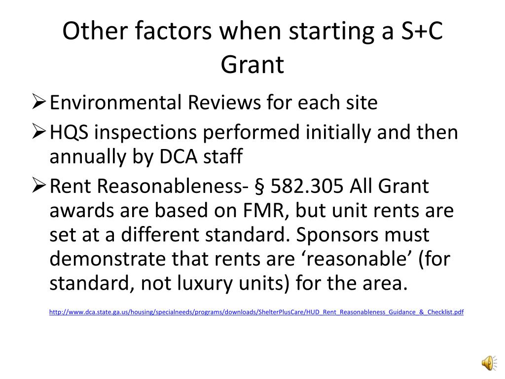 Other factors when starting a S+C Grant