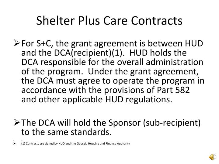 Shelter plus care contracts