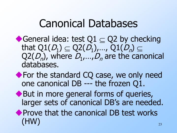 Canonical Databases