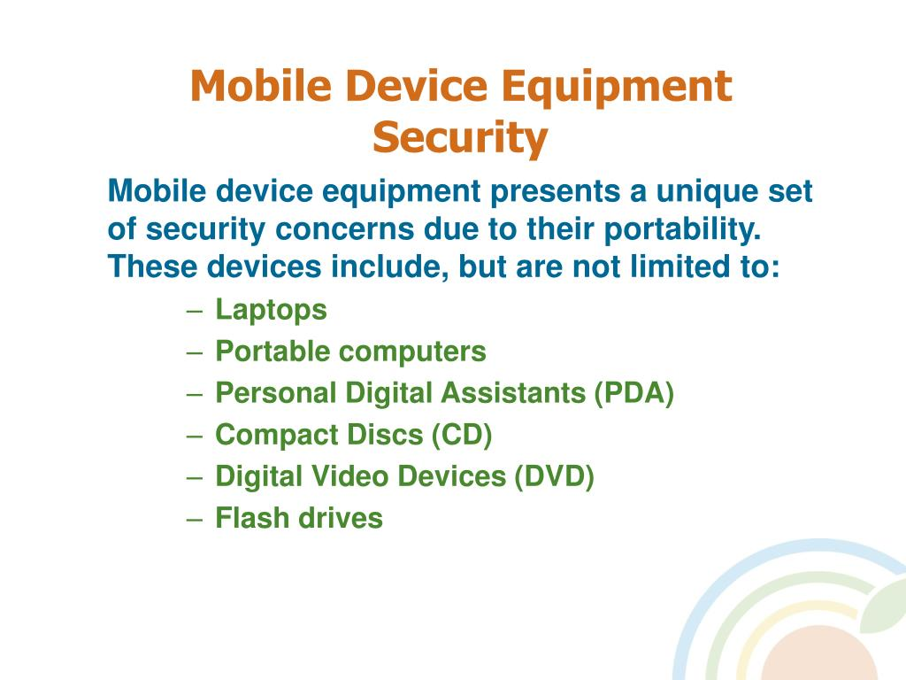 Mobile Device Equipment Security