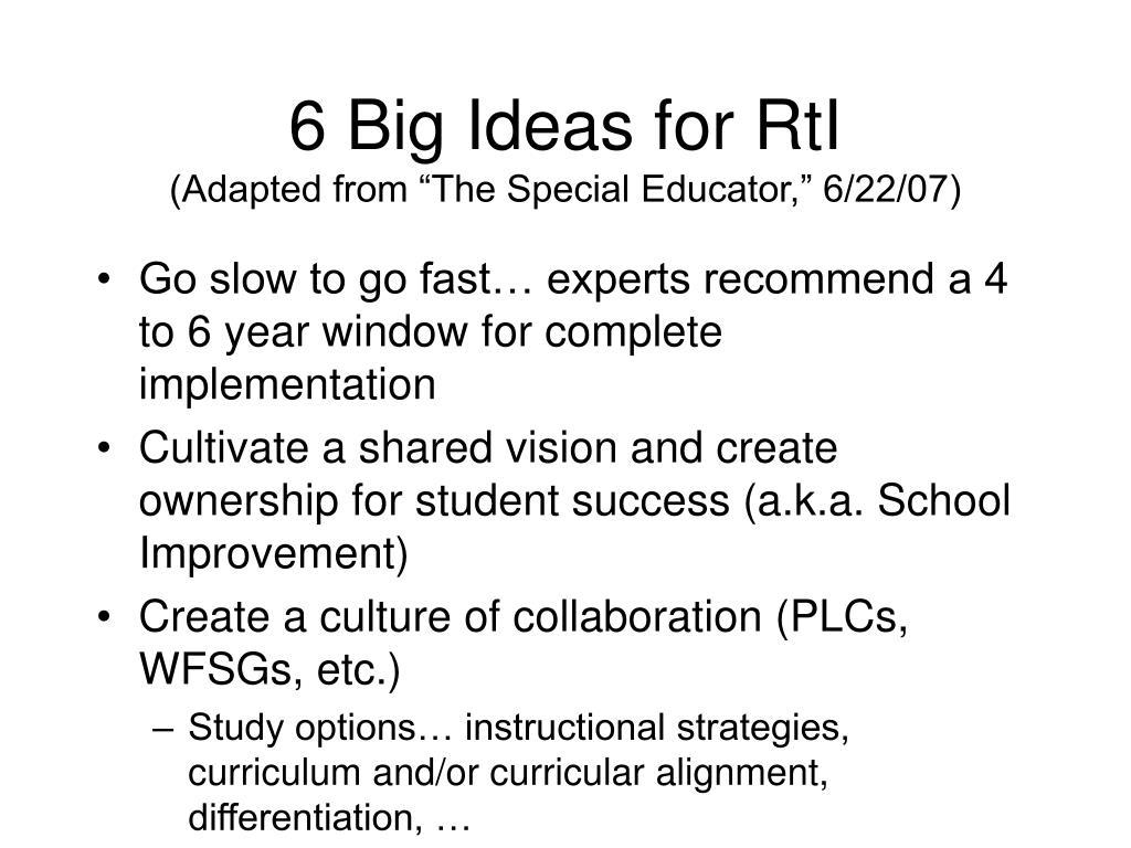 6 Big Ideas for RtI