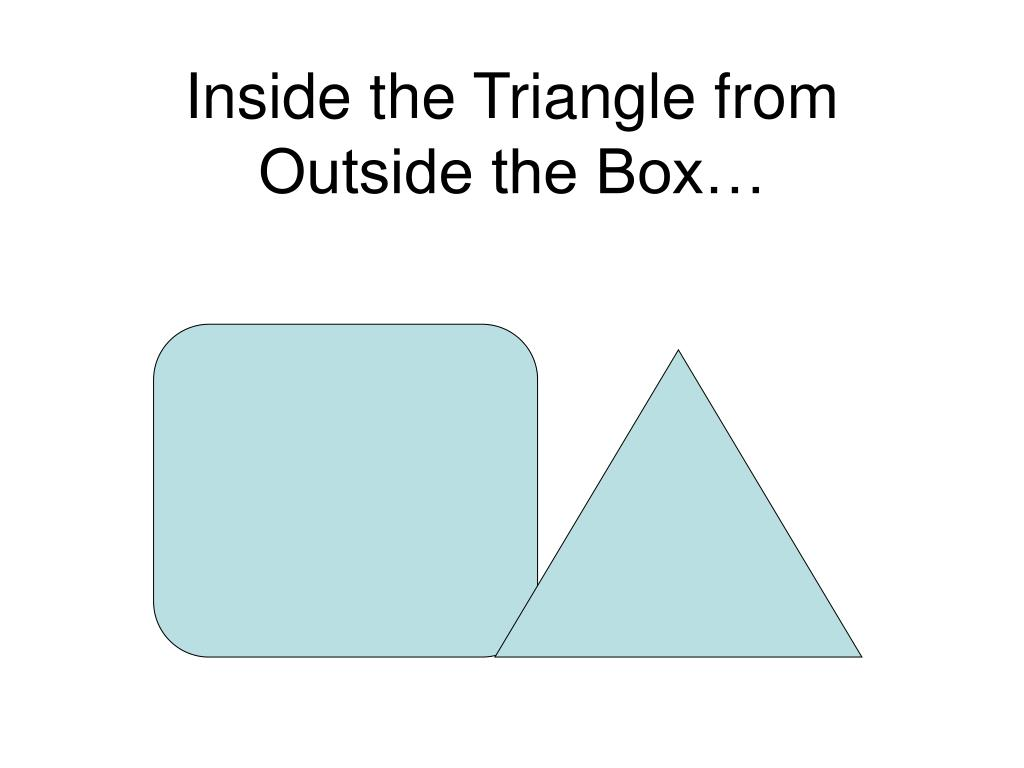 Inside the Triangle from Outside the Box…