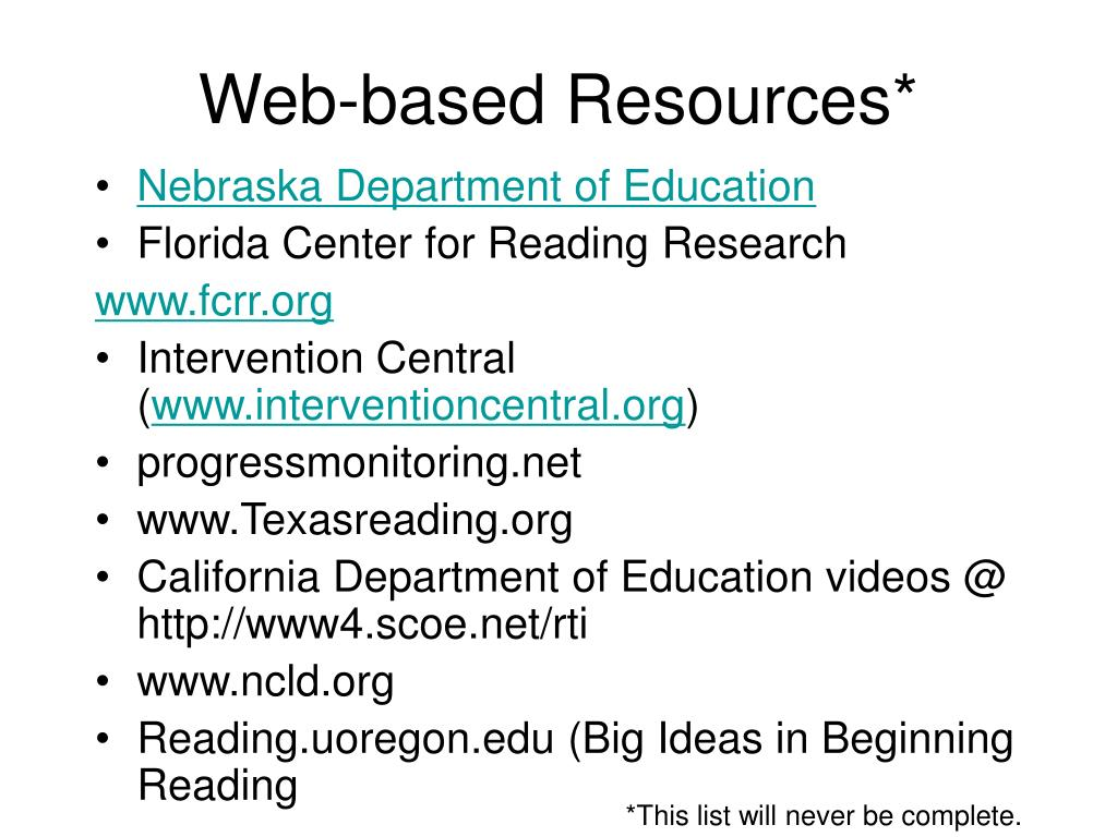 Web-based Resources*