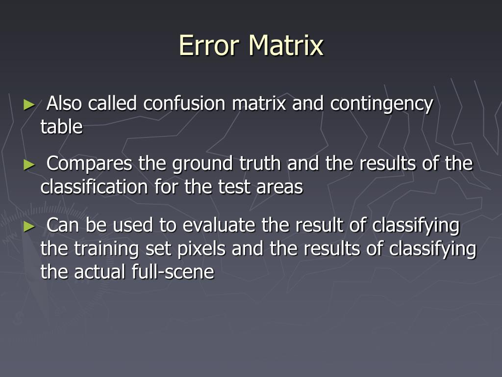 Error Matrix