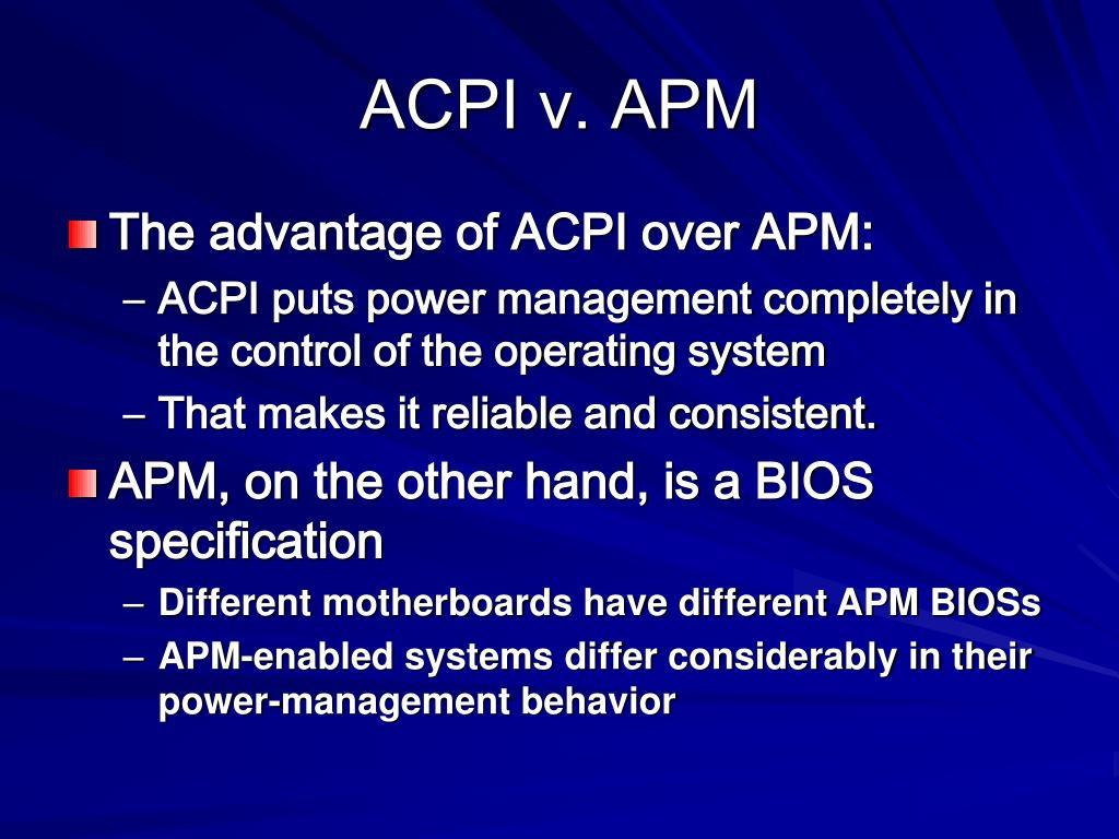 ACPI v. APM