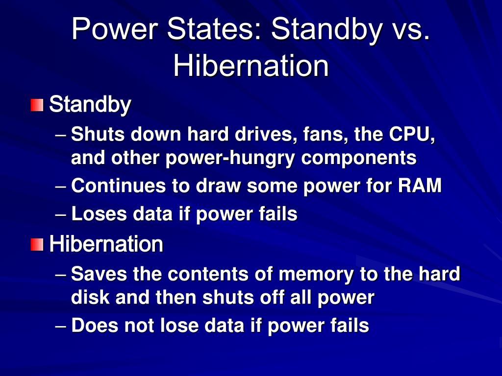 Power States: Standby vs. Hibernation