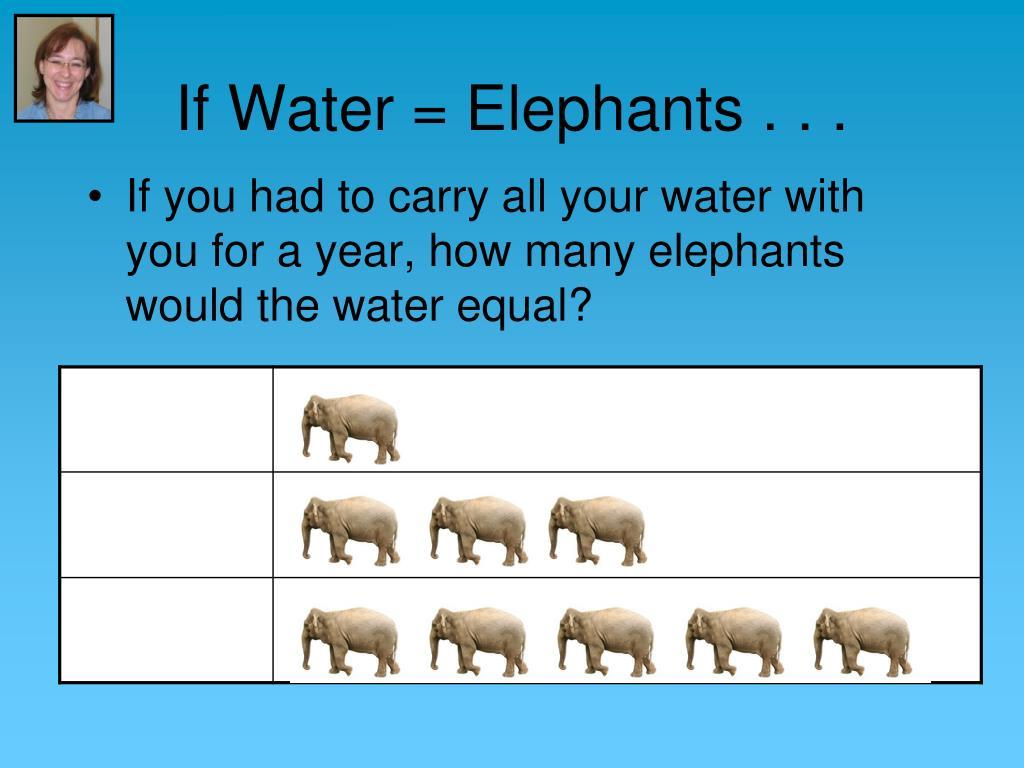 If Water = Elephants . . .