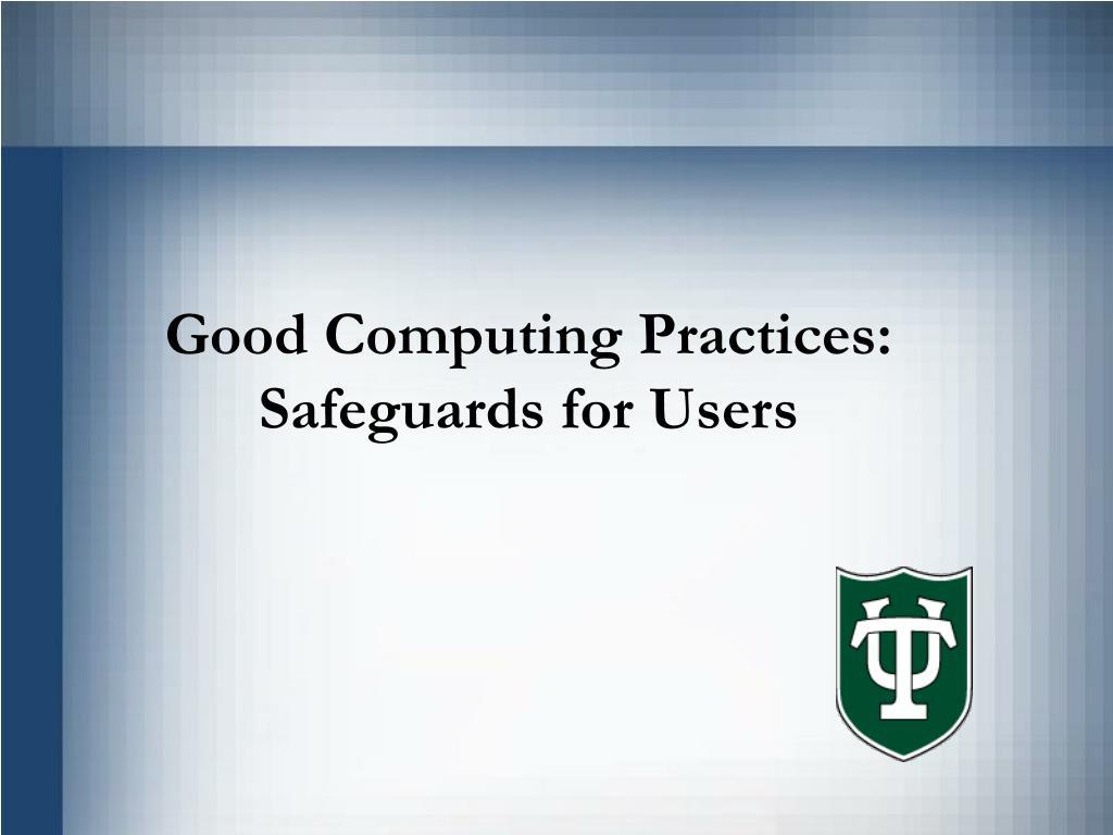 Good Computing Practices: