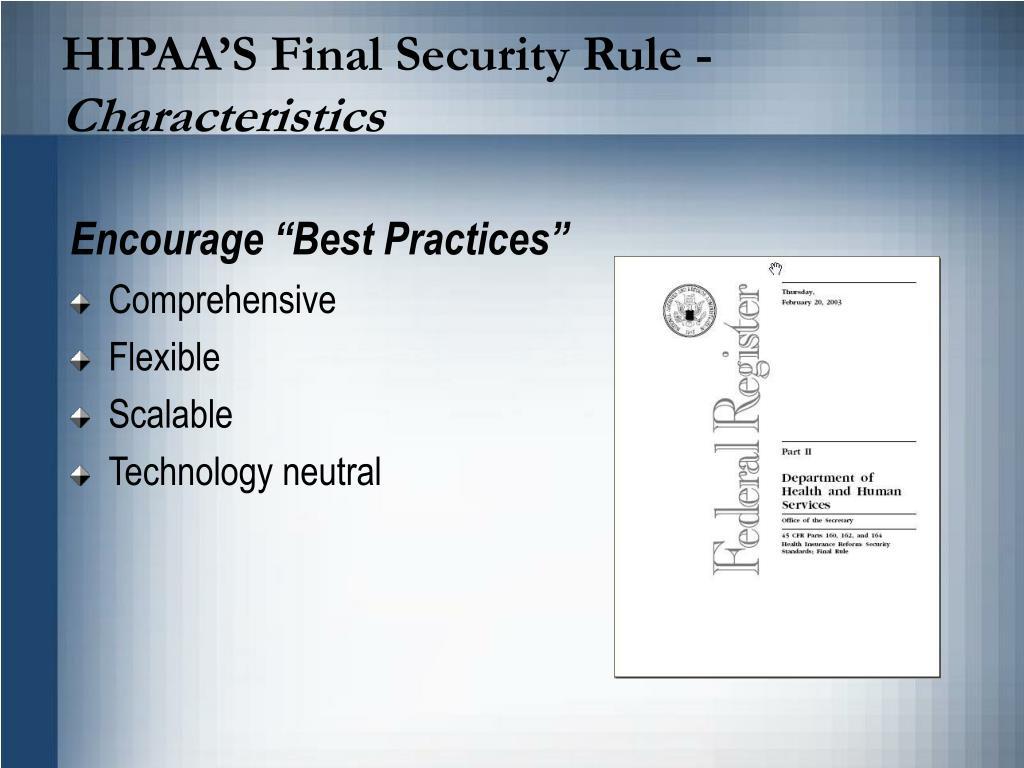 HIPAA'S Final Security Rule -