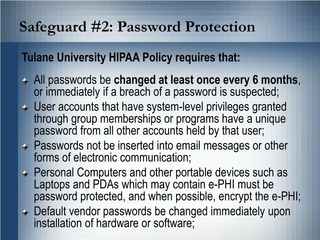 Safeguard #2: Password Protection