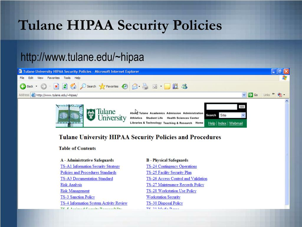 Tulane HIPAA Security Policies
