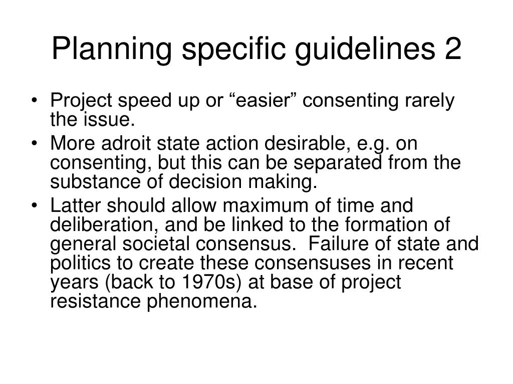 Planning specific guidelines 2
