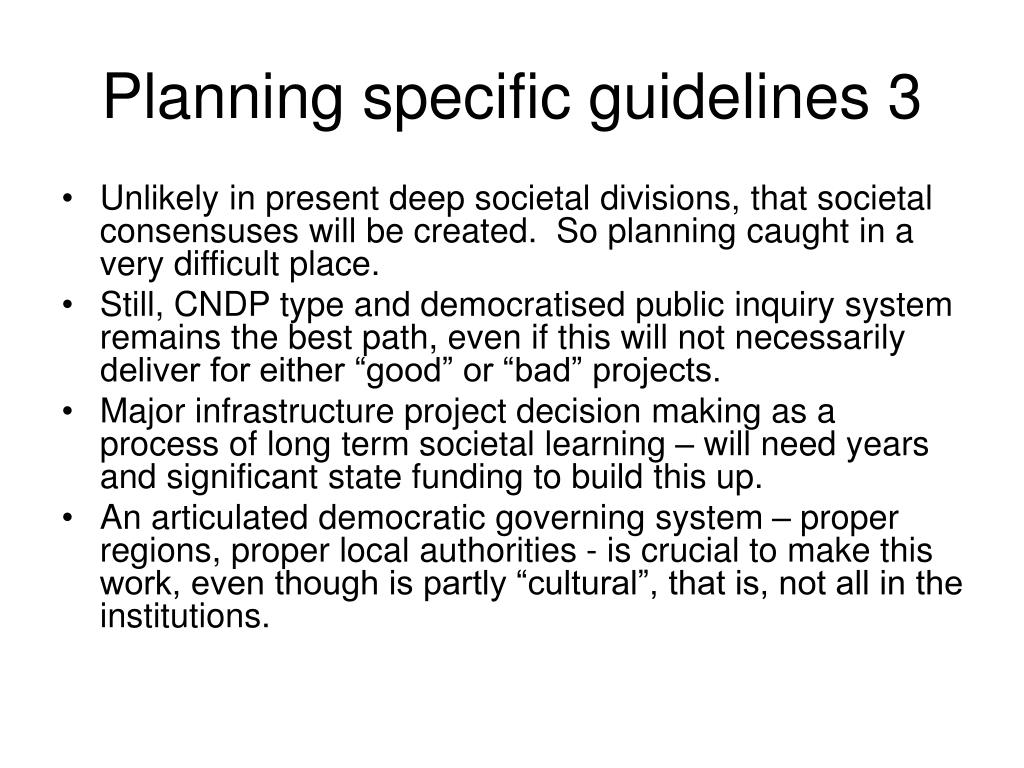 Planning specific guidelines 3
