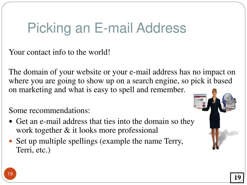 Picking an E-mail Address
