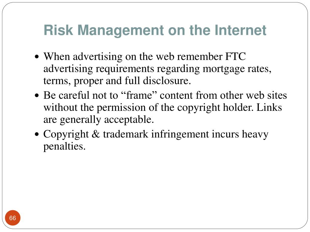 Risk Management on the Internet