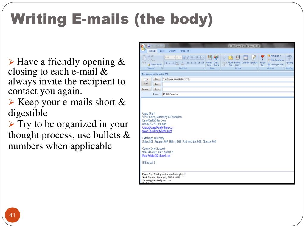Writing E-mails (the body)