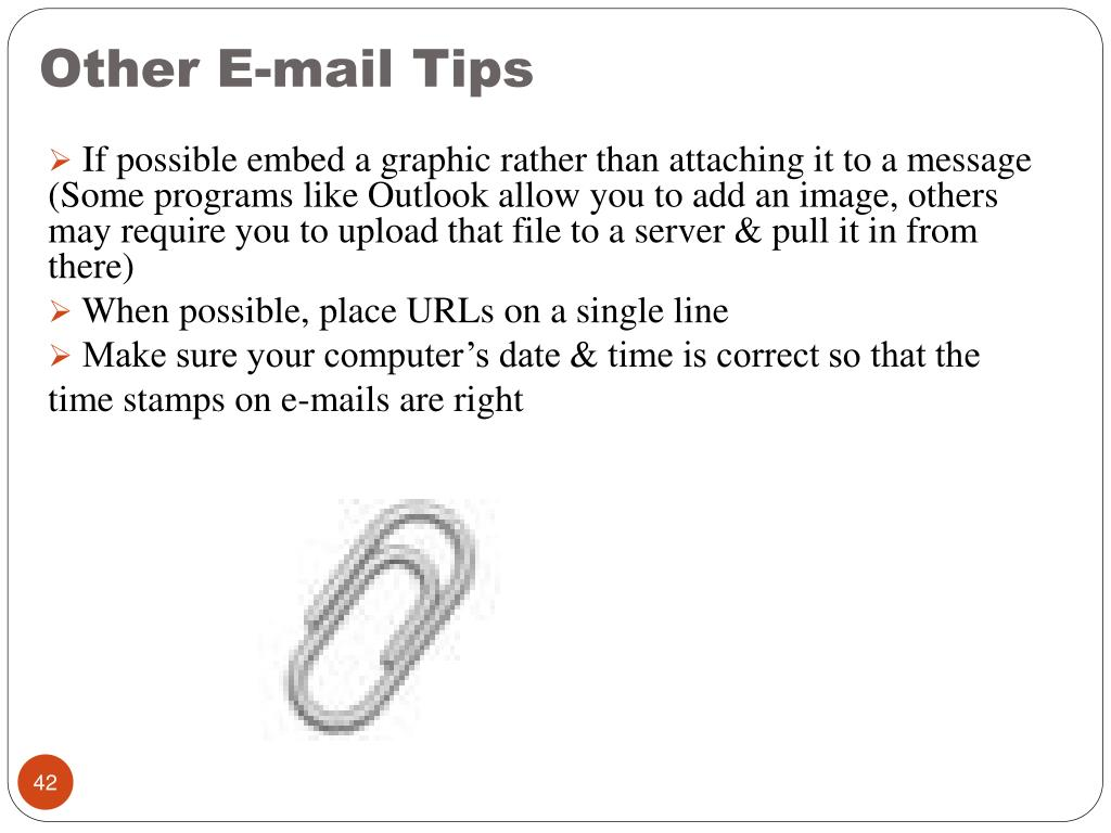 Other E-mail Tips
