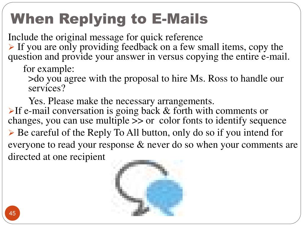 When Replying to E-Mails