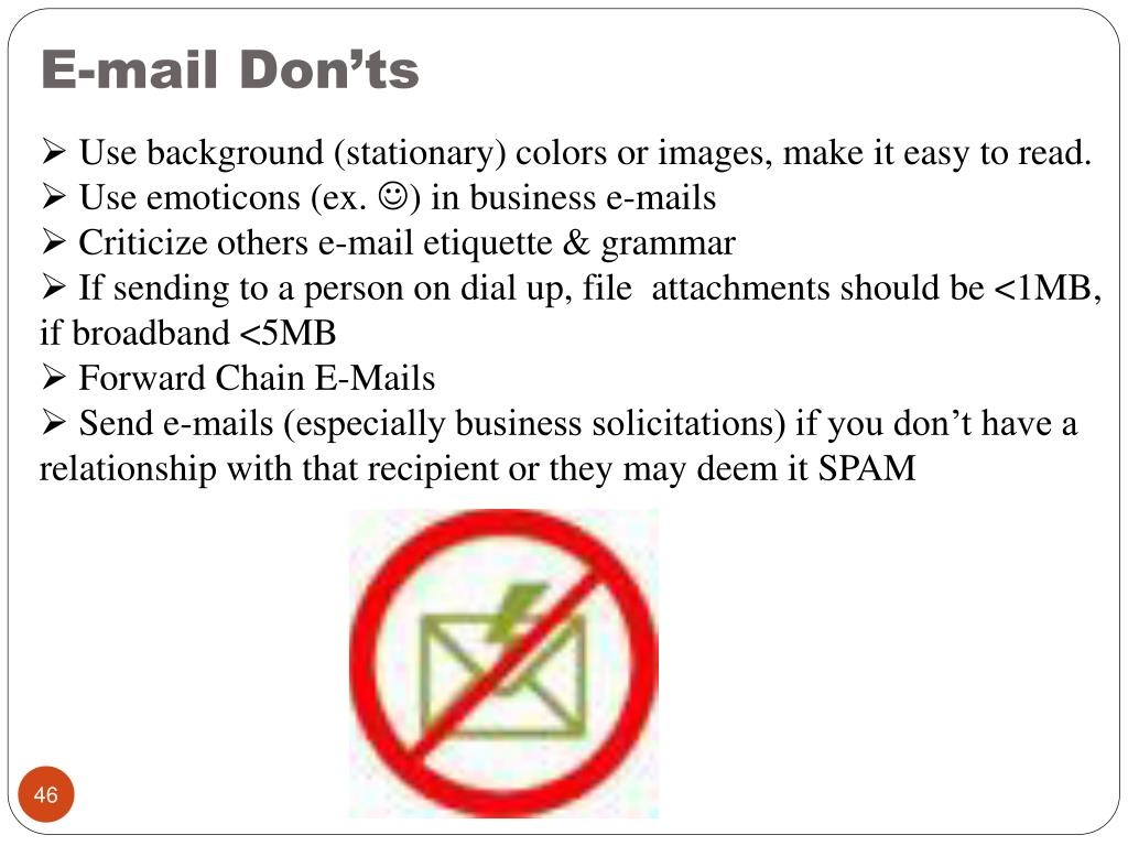 E-mail Don'ts