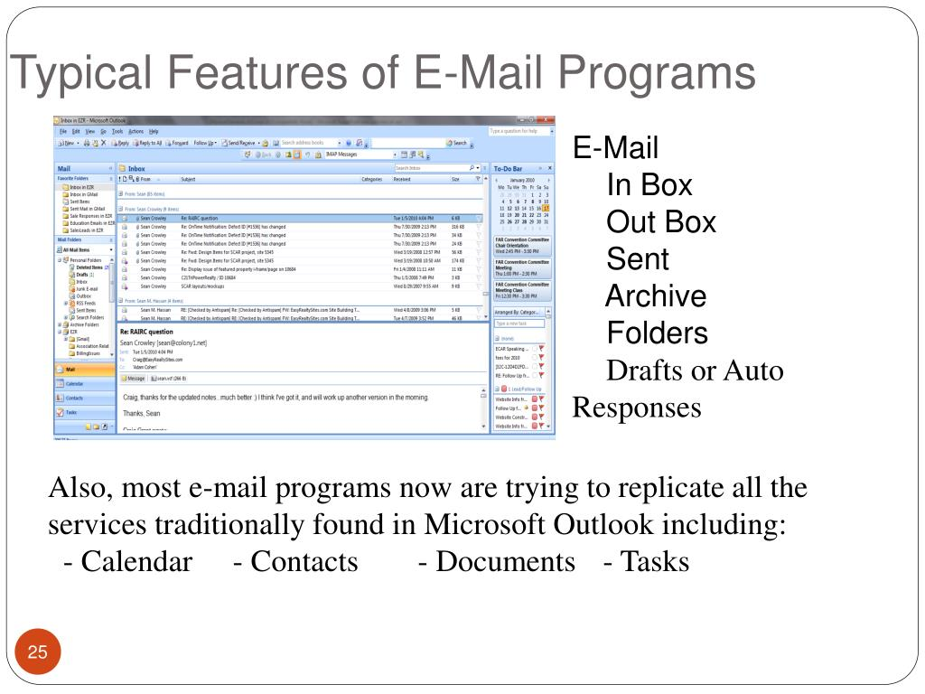 Typical Features of E-Mail Programs
