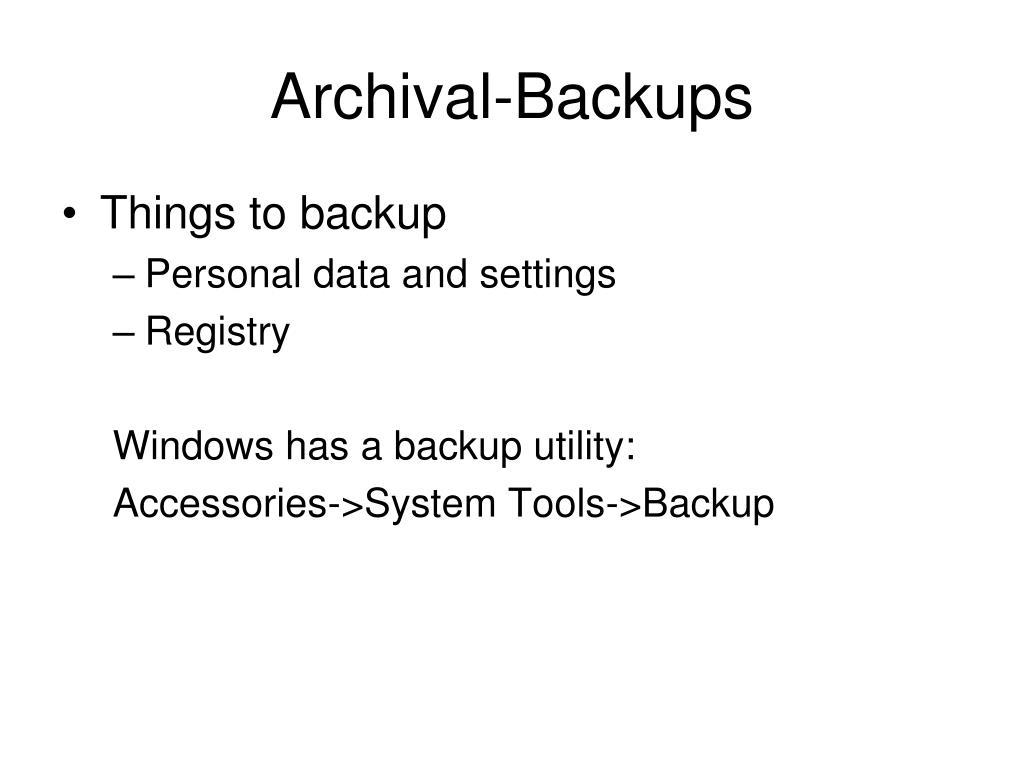 Archival-Backups