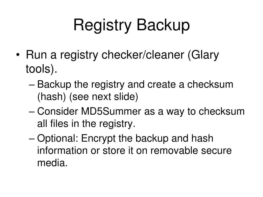 Registry Backup