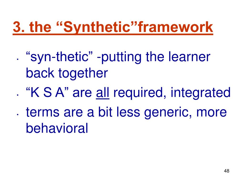 "3. the ""Synthetic""framework"