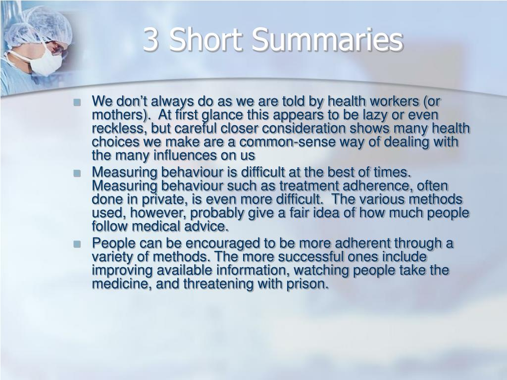 3 Short Summaries