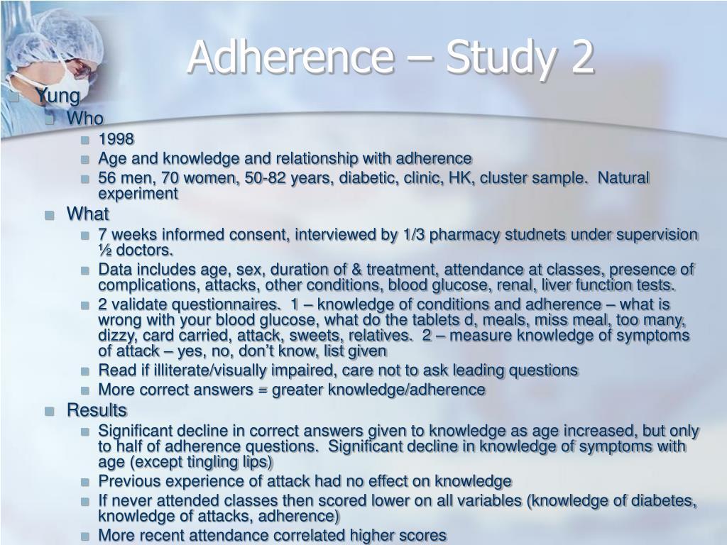 Adherence – Study 2