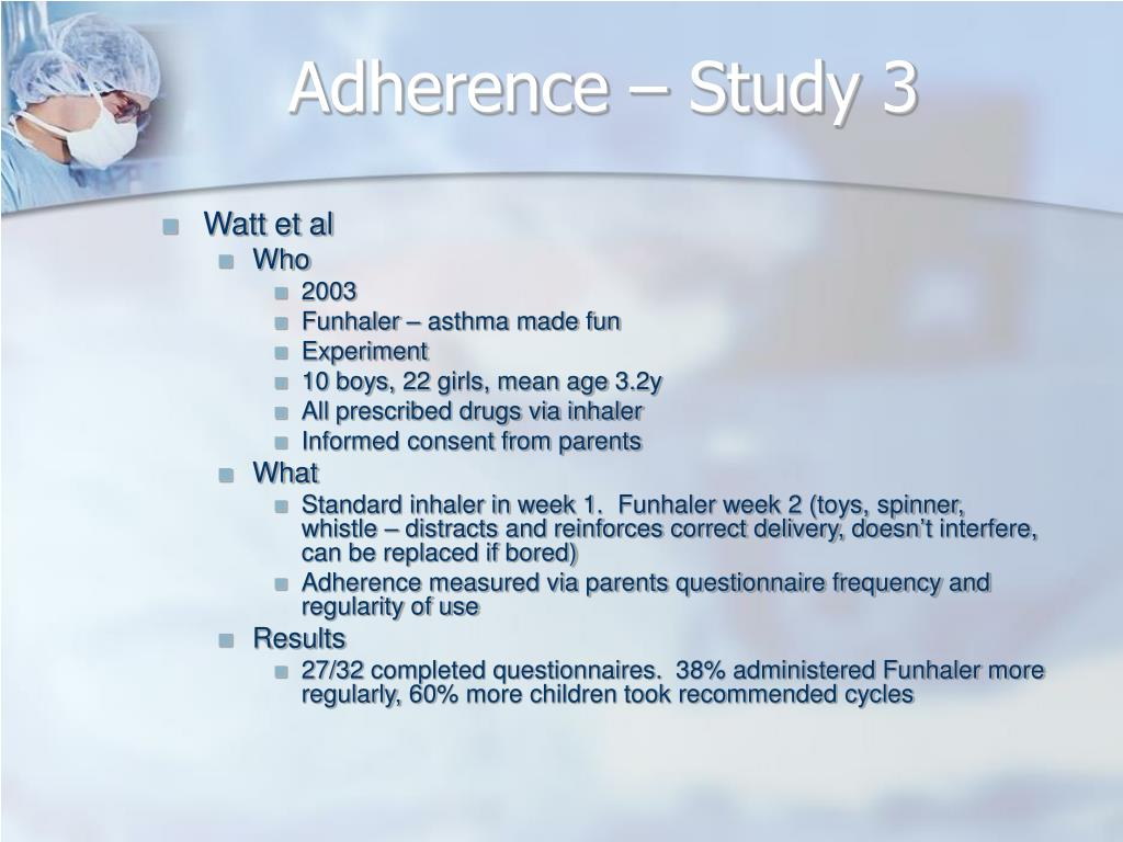 Adherence – Study 3