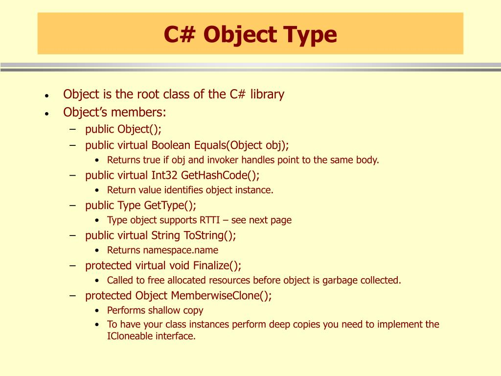 C# Object Type
