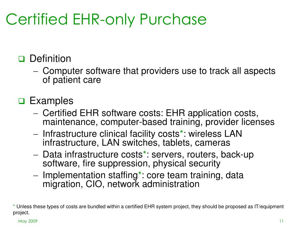 Certified EHR-only Purchase