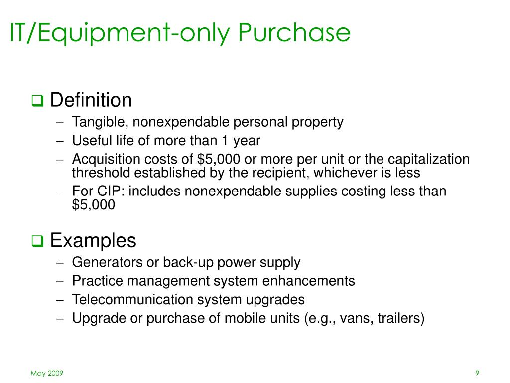 IT/Equipment-only Purchase
