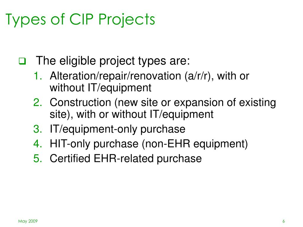 Types of CIP Projects