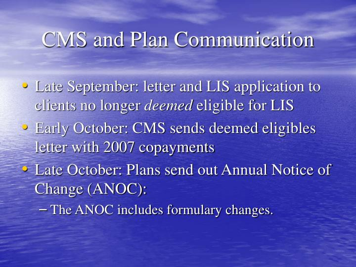 CMS and Plan Communication