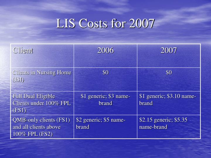 LIS Costs for 2007