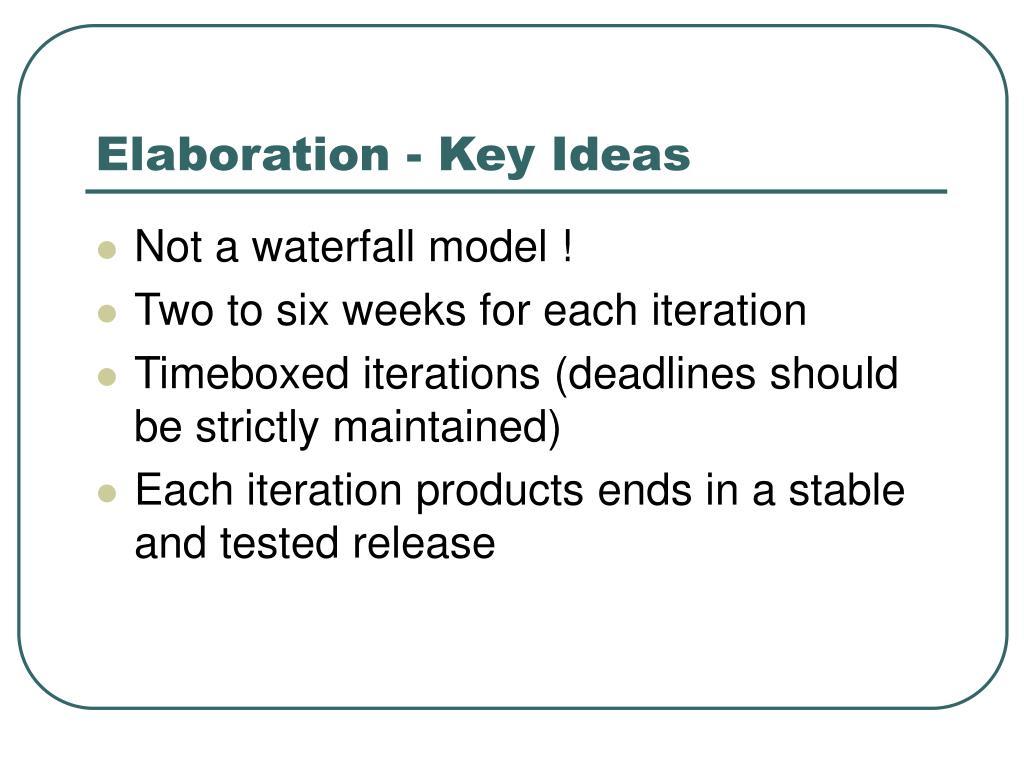 Elaboration - Key Ideas