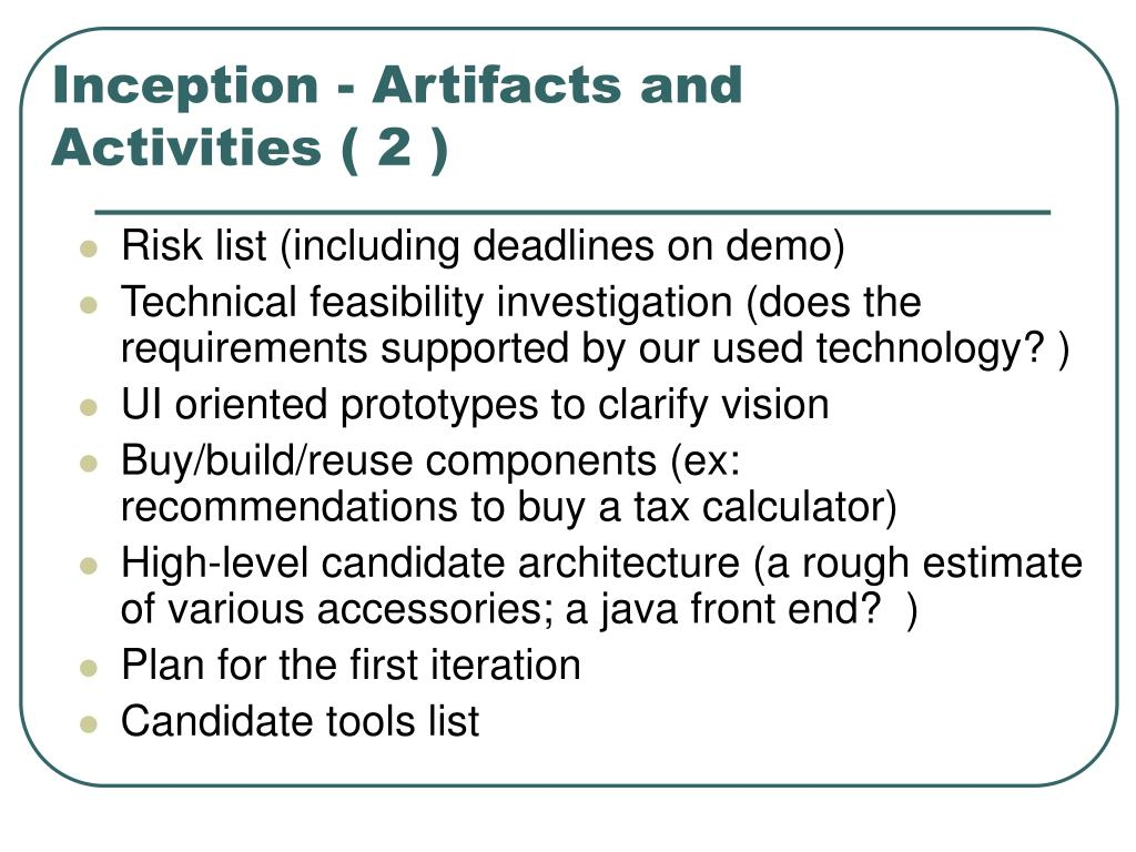 Inception - Artifacts and Activities ( 2 )