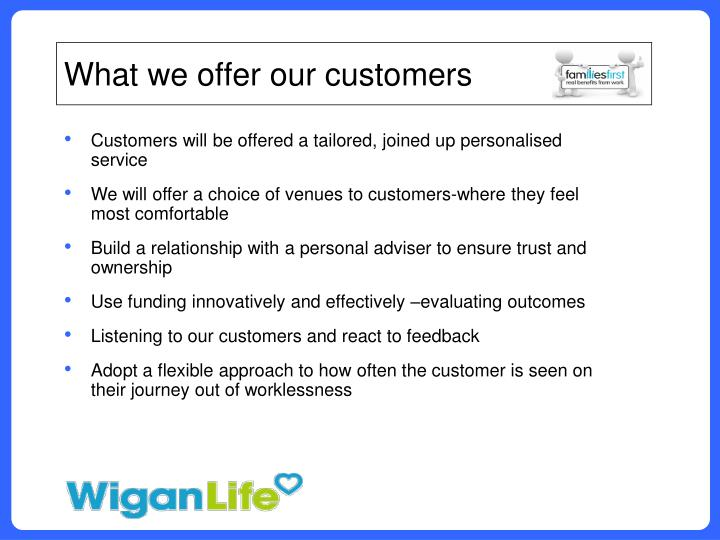 What we offer our customers