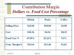 contribution margin dollars vs food cost percentage