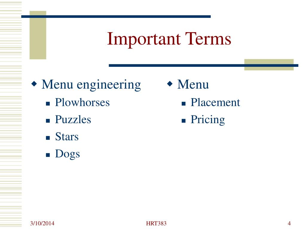 Menu engineering