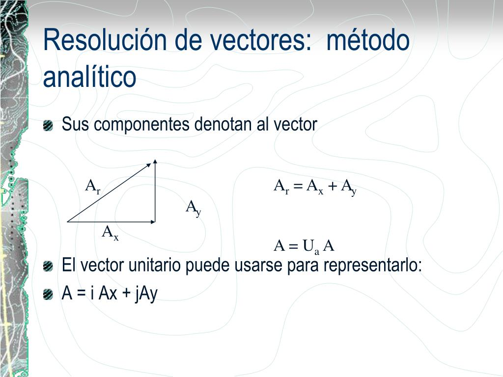Resolución de vectores:  método analítico