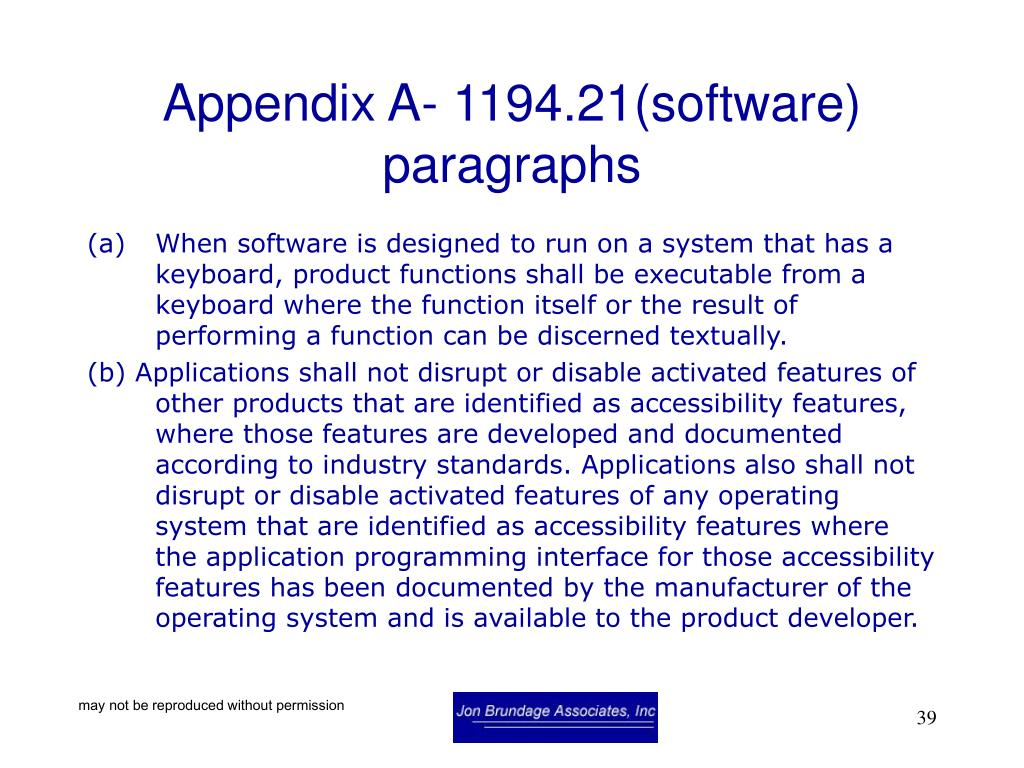 Appendix A- 1194.21(software) paragraphs