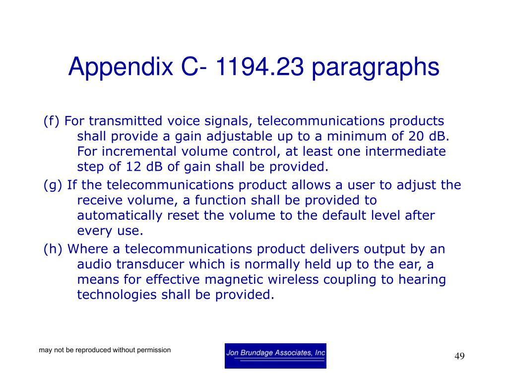Appendix C- 1194.23 paragraphs