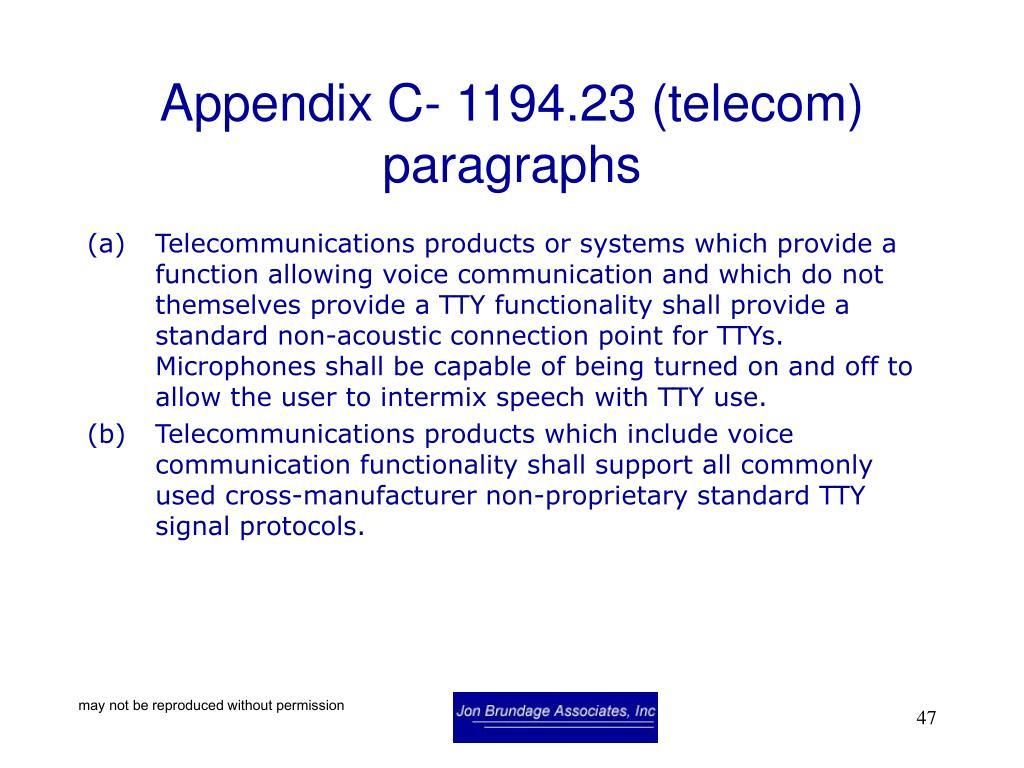 Appendix C- 1194.23 (telecom) paragraphs